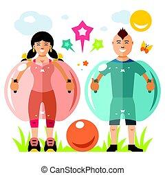 zorbing, lägenhet, stil, boll, illustration., färgrik, game...