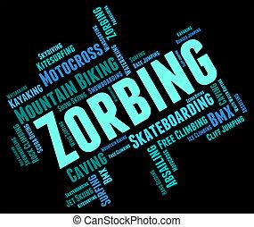 zorbing, palavra, indica, palavras, zorber, e, zorb-ball
