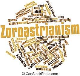 Zoroastrianism - Abstract word cloud for Zoroastrianism with...