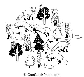 zorro, aislar, objetos, negro, bosque, blanco