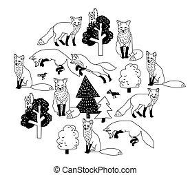 zorro, bosque, negro, aislar, objetos, white.