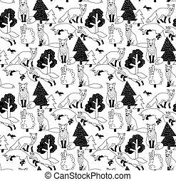 zorro, bosque, negro y blanco, seamless, naturaleza, pattern.