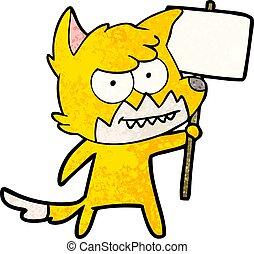 zorro, caricatura, carácter, con, signo protesta