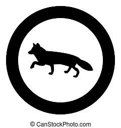 zorro, de, siluetas, icono, negro, color, en, círculo