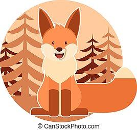 zorro, en, el, bosque