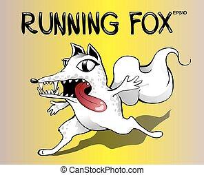 zorro, espantado, zorro, Ilustración, Plano de fondo, Funcionamiento,  vector, amarillo, blanco, caricatura