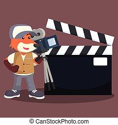 zorro, película, cámara, con, señal