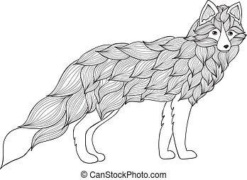 zorro, perro, lobo, ondas, o