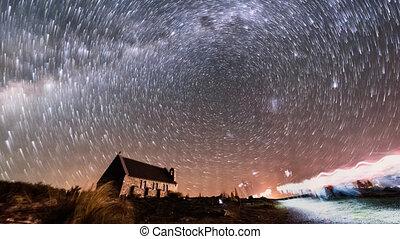zorza polarna, i, gwiazda holuje, dobry pastuch, church., zoom na zewnątrz