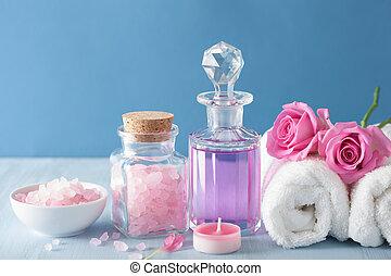 zout, bloemen, parfum, aromatherapy, spa, kruiden, roos