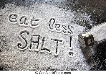 zout, eten, minder