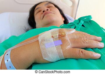 zouthoudend, vrouw, patiënt, ziekenhuis, op einde, intravenous