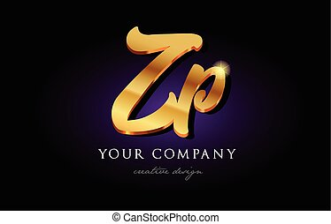 zp z p 3d gold golden alphabet letter metal logo icon design handwritten typography