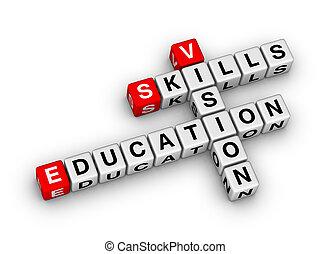 zręczność, widzenie, wykształcenie