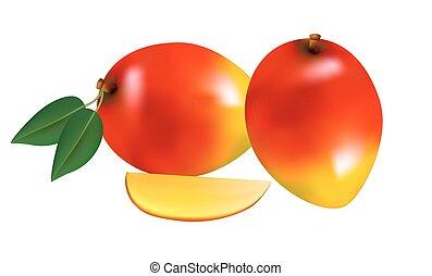 zralý, čerstvý, mango, s, krajíc