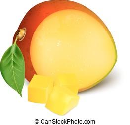 zralý, čerstvý, mango, s, slices.