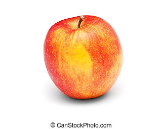 zralý, červené šaty jablko, osamocený, oproti neposkvrněný