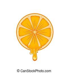zralý, pomeranč, s, šťáva