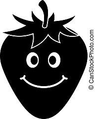zralý, usmívaní, jahoda, ikona, jednoduchý