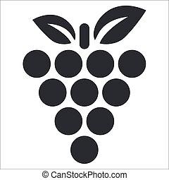 zrnko vína, osamocený, ilustrace, svobodný, vektor, ikona