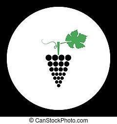 zrnko vína, ovoce, jednoduchý, černoši i kdy, nezkušený, ikona, eps10