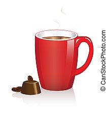 zrnková káva, čokoládové bonbóny, džbánek