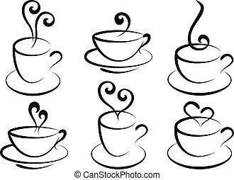 zrnková káva, a, čaj, číše, vektor