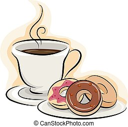 zrnková káva, donuts, snack