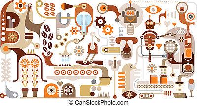 zrnková káva, továrna, -, abstraktní, vektor, il