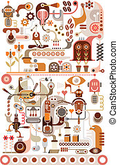 zrnková káva, továrna, -, vektor, illustratio