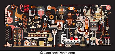zrnková káva, továrna, vektor, ilustrace
