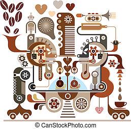 zrnková káva, továrna, -, vektor, ilustrace