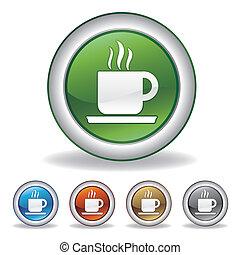 zrnková káva, vektor, ikona