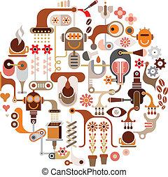 zrnková káva, zpracování, -, vektor, illustra