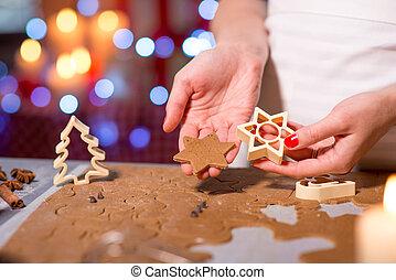 zrobienie, ciasteczka, boże narodzenie, imbir