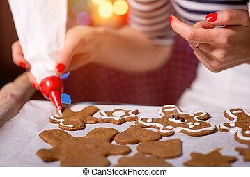 zrobienie, ciasteczka, kobieta, boże narodzenie, imbir
