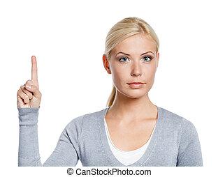 zrobienie, dziewczyna, uwaga, gest