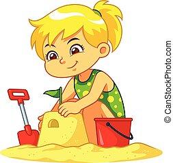 zrobienie, dziewczyna, zamek, piasek
