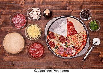 zrobienie, fazy, pizza, zachwycający, składniki