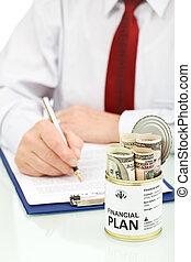 zrobienie, finansowy plan, handlowiec