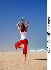 zrobienie, kobieta, yoga, młody