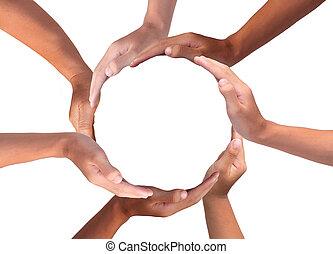 zrobienie, ludzkie ręki, multiracial, konceptualny, koło, symbol