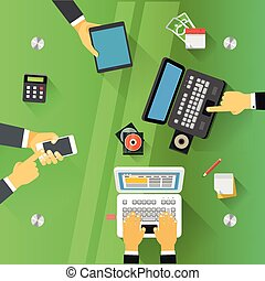 zrobienie, na, stół., biznesmeni, transakcja