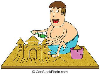 zrobienie, piasek zamek