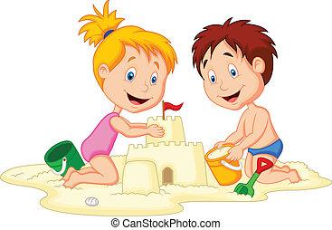 zrobienie, piasek zamek, rysunek, dzieci
