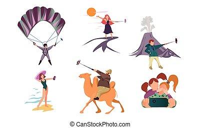 zrobienie, smartphones, ludzie, wektor, ilustracja, selfie, lato, działalność, podczas