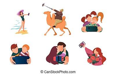 zrobienie, sytuacje, smartphones, ludzie, wektor, ilustracja, selfie, różny