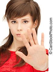 zrobienie, teenage, zatrzymywać, dziewczyna, gest