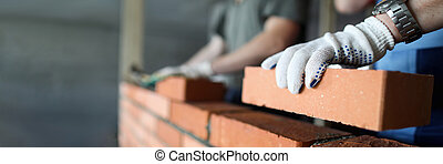 zrobienie, umiejscawiać, cegła, pracownicy, dwa, czerwony, zbudowanie, ściana