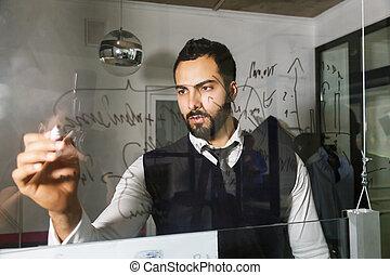 zrobienie wynotowuje, na, przedimek określony przed rzeczownikami, szklana ściana